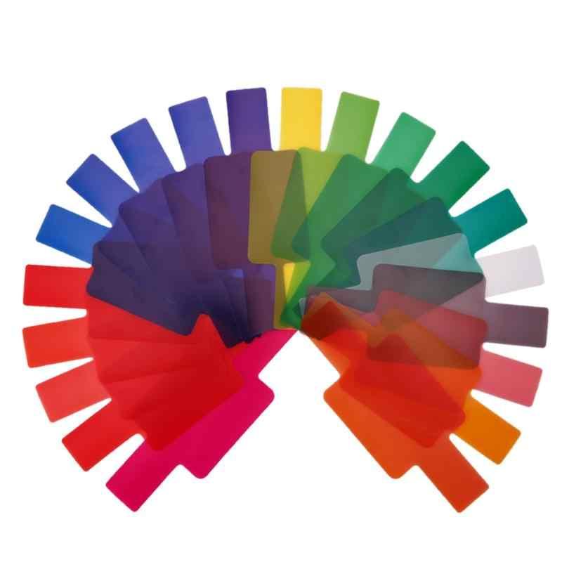 ALLOET 20 pièces Flash Speedlite couleur Gels filtres pour Canon Yongnuo appareil photo Gels photographiques filtre Flash Speedlite Speedlight nouveau