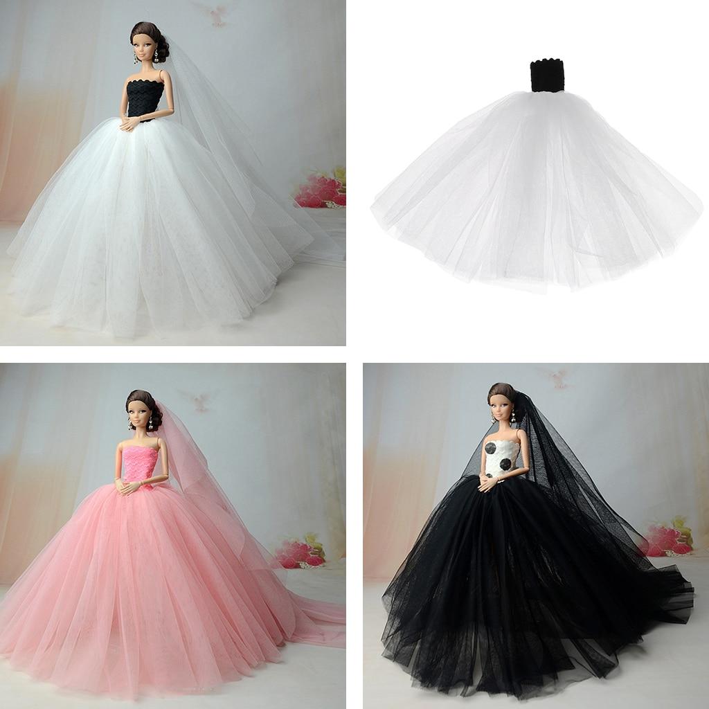 Doll Wedding Dress Fashion Gauze Wedding Bridal Tube Dress Skirt w Veil Doll Tube Bridal Dress for Barbie Clothes Accessories