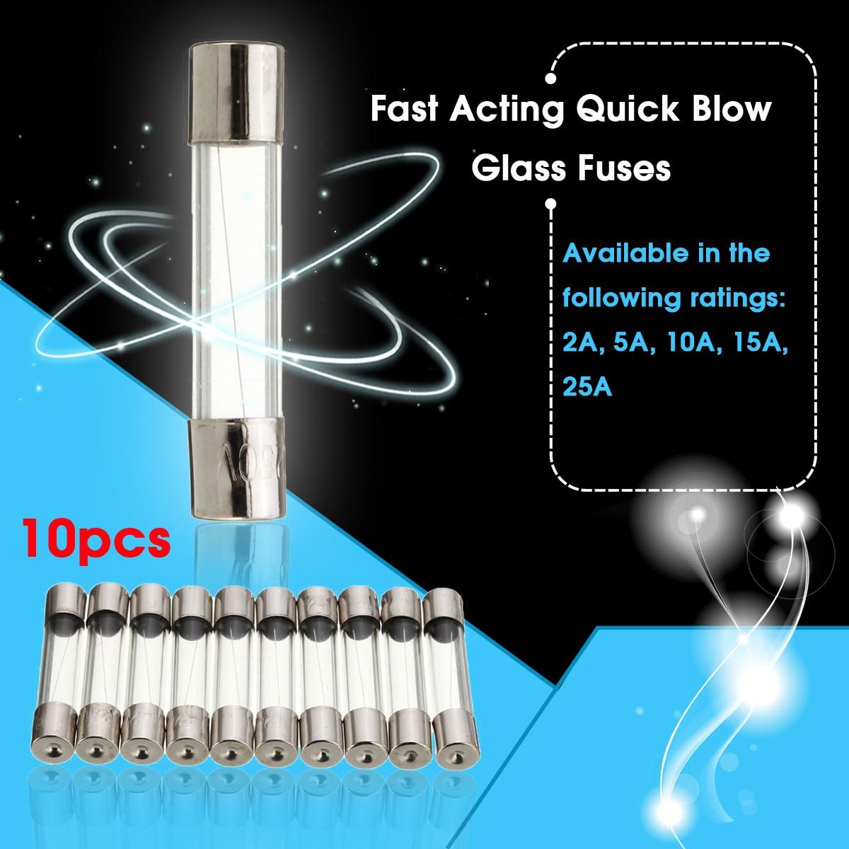 10Pcs/lot AC 220V Quick/Fast Blow Glass Fuse Fuses 2A 5A 10A 15A 25A 35A 50A Fast Quick Blow Glass Tube Fuse Assortment Kit