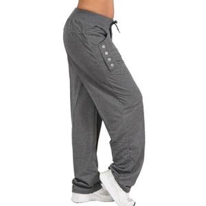 Image 5 - נשים מקרית Loose ספורט הרמון מכנסיים טרנינג רחב רגל גבוהה מותן תחרה עד ישר רצים מכנסיים בתוספת גודל Pantalon femme