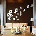 Креативные 3D музыкальные нотки, акриловые зеркала, настенный стикер, домашний декор, декор для гостиной, настенное украшение, DIY стикер, накл...
