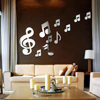 Creative 3D Musical Notes Acrylic Mirrors Wall Sticker Home Decor Living Room Wall Decoration Art DIY Stickers Decals