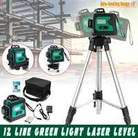 Green Light Laser Level 3D 12 Line Auto Self Leveling 360 Rotary Measure Cross Tripod Base T Shaped Advanced Wall Mounted