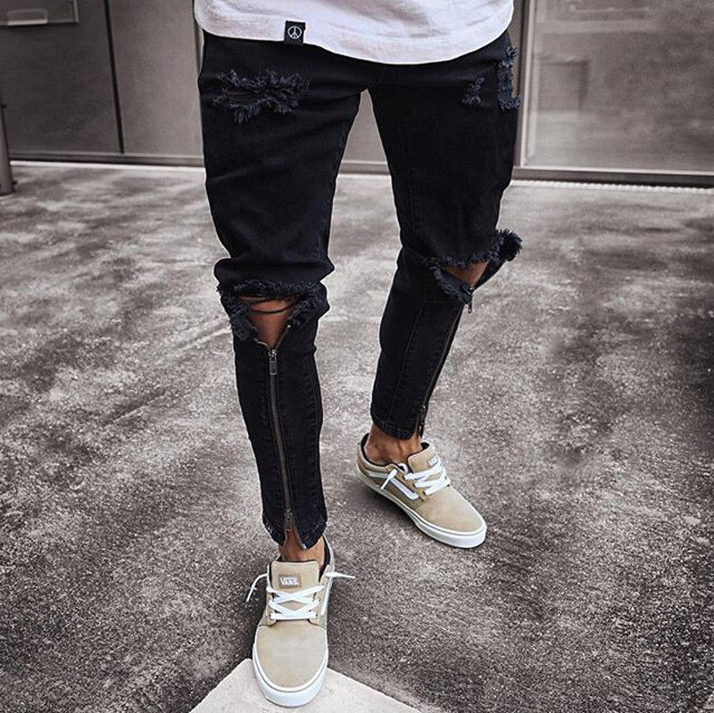 New Designer Slim Fit Ripped Jeans Men High Street Mens Distressed Denim Joggers Knee Holes Zipper Washed Destroyed Pencil Jeans