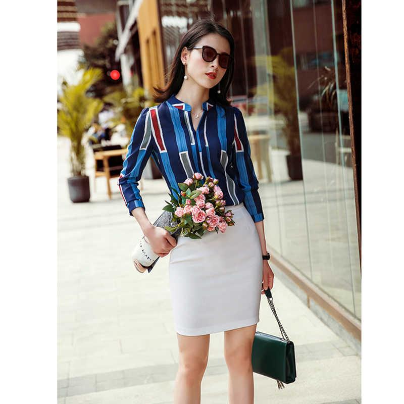 e117f422a ... Moda mujer trajes de negocios rayas diseño blusa + Pantalones elegantes  2 piezas trajes de trabajo ...
