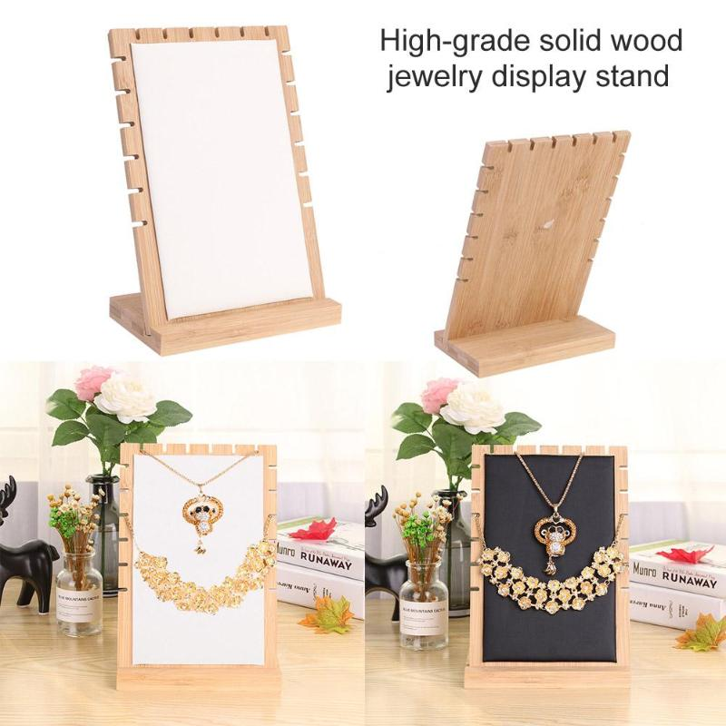 Solid Wood PU Leather Jewelry Organizer Stand Necklace Bracelet Holder Jewellery Earring Display Rack