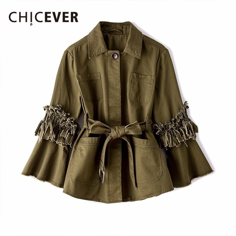 CHICEVER Autumn Jackets For Women s Coats Feamle Tassel Flare Sleeve Loose Big Size Hem Pleated