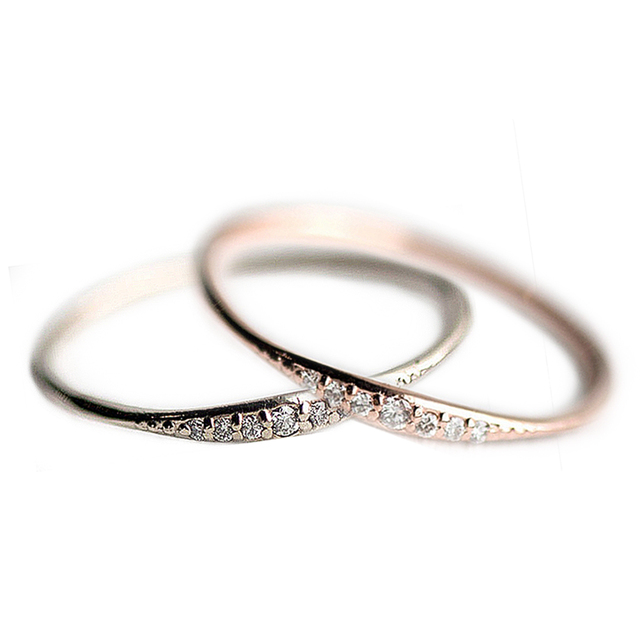 2018 Fashion Zircon Thin Rings For Women Wedding Bridal Prong Setting Crystals Rings High Quality Noble Jewelry size 6-10