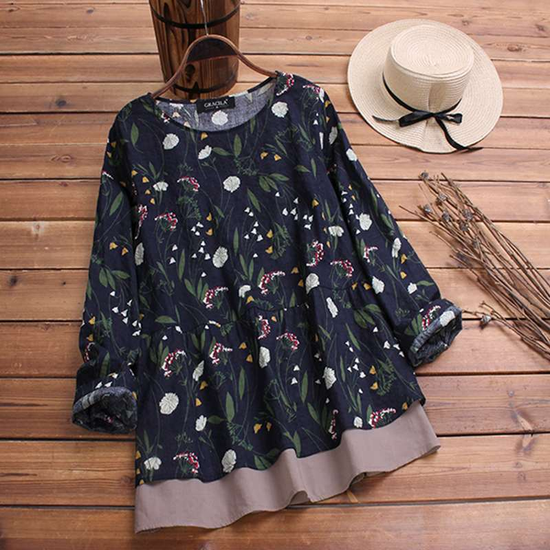 2019 Plus Size Spring Women Casual O Neck Long Sleeve Vintage Boho Floral Printed Patchwork Loose Party Blouse Shirt Vestido Top 4