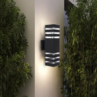 Outdoor Wall Light Fixture Exterior Wall Mounted Sconce IP65 Weatherproof Up Down Cylinder for Garden Pathway Patio