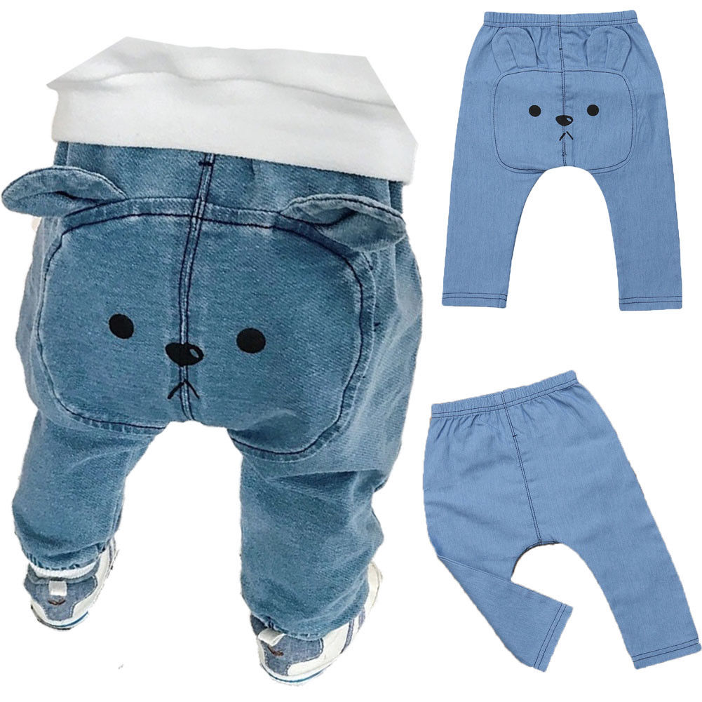 Trousers Long-Pants Bottoms Girls Infant Baby-Boys Kids Cartoon Denim Bears