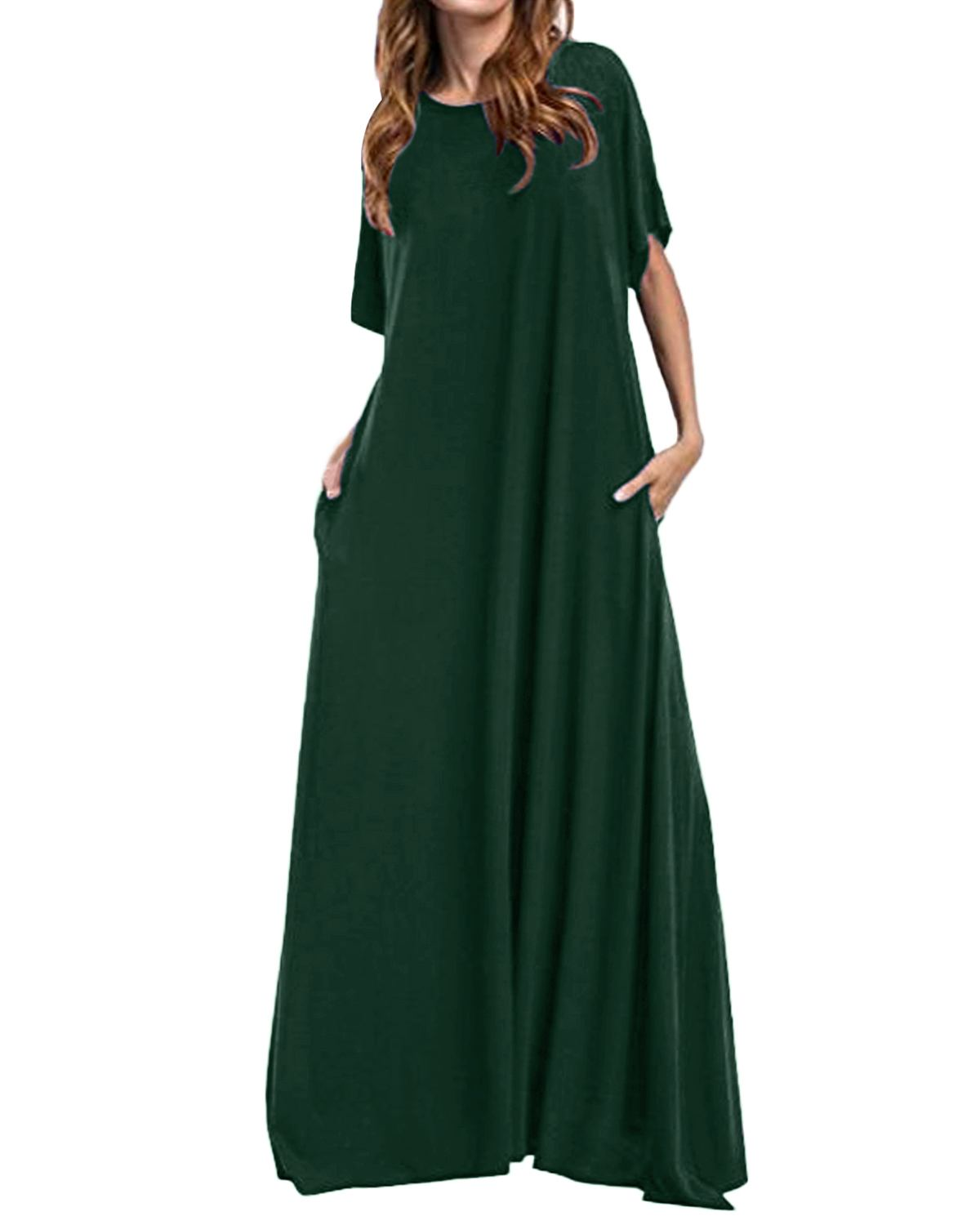 Plus Size Long Maxi Dress ZANZEA 2019 Women Half Sleeve Solid Round Neck Vintage Casual Loose Long Elegant Robe Bodycon Vestidos