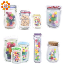30pcs Creative Mason Bottles Bags Convenient PE Nuts Cookies Candy Snacks Sealed Plastic Bag Home Decoration Storage Supplies