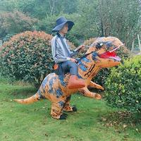 Stand Riding T Rex Dinosaur Inflatable Costumes Halloween Party Dress Cosplay Suit Prop with Hat Fancy Decoration for Women Men