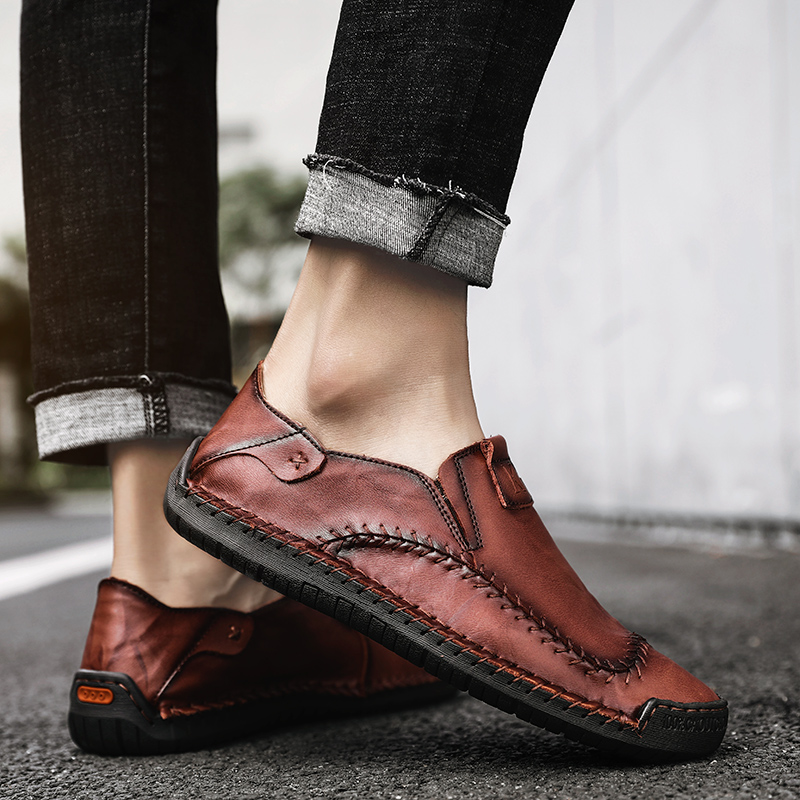 2019 Spring Leather Casual Shoes Men Breathable Quality Loafers Moccasins Slip O