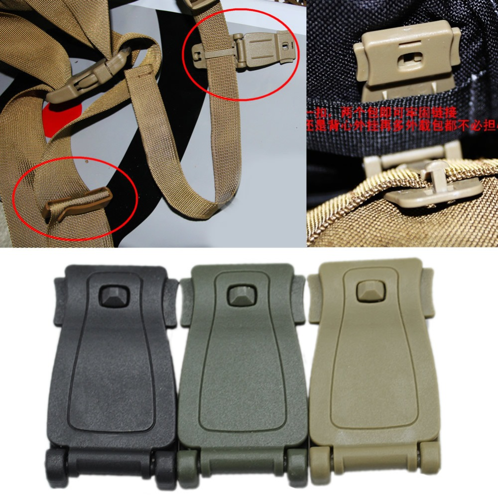 2//10Pcs Molle Strap Backpack Bag Webbing 30mm Connecting Lock Buckle EDC Clip