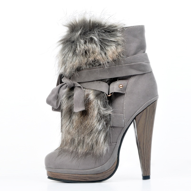 2019 Chic Gray Lace-Up High Heel Boot Woman Platform Fur Decor Rivets Autumn Winter Ankle Boots Woman Party Dress Shoes2019 Chic Gray Lace-Up High Heel Boot Woman Platform Fur Decor Rivets Autumn Winter Ankle Boots Woman Party Dress Shoes