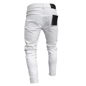 Image 4 - Yeni Moda Streetwear Erkek Kot Vintage Mavi Ince Yırtık Kot Kırık Serseri Pantolon Homme Hip Hop Kot Erkek Pantolon