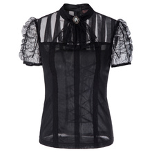 Elegant Women shirt Office Ladies Tops Gothic Organza Steampunk Victorian Short Sleeve Vintage Shirt