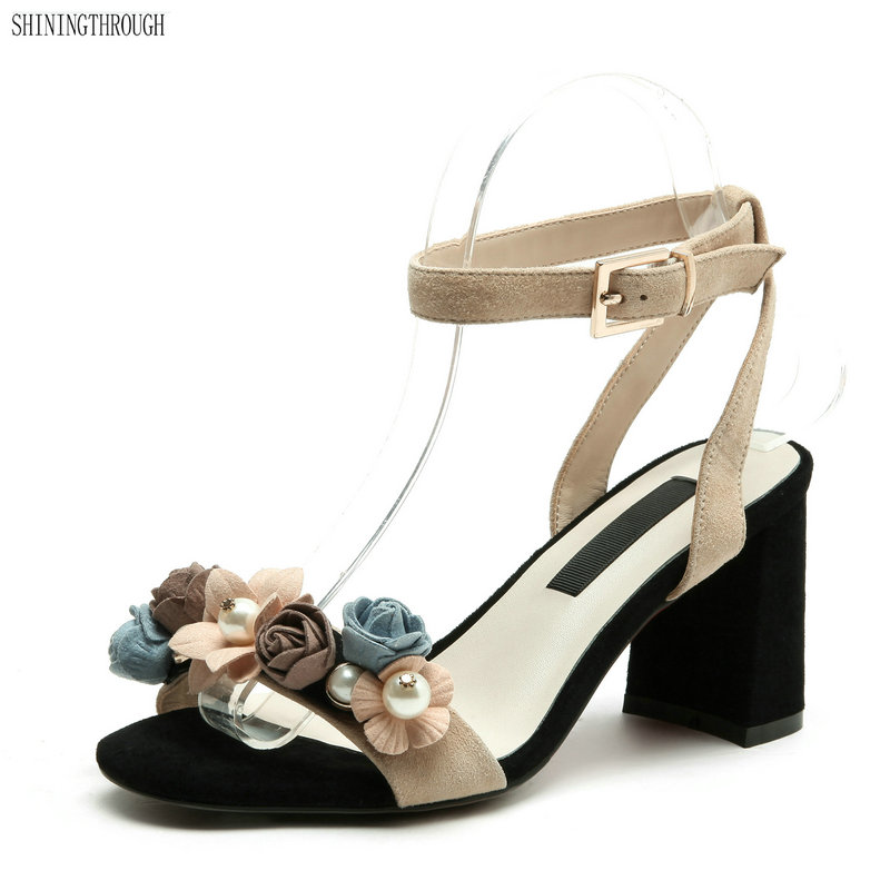 Women Flowers Sandals 2019 Summer Gladiator Genuine Leather Shoes Woman Ankle Strap High Heels Party Wedding