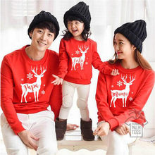 Fashion Family Christmas Elk Match Hoodies Kid Mom Dad Cotton Warm Pullover Tops(China)