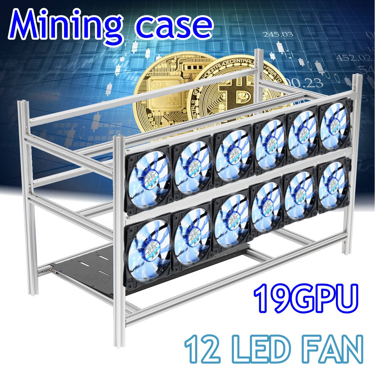 Stackable Open Air Mining Rig Frame Miner Case For 19 GPU ETC BTH 3 Power Supply New Computer Mining Case Frame Server Chassis
