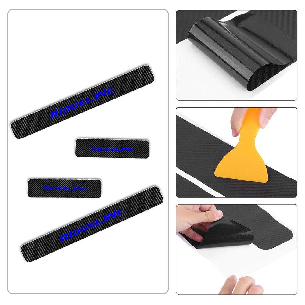 4PCS Accessories 3D Carbon Fiber Black Car door Plate Door Sill Scuff Plate Cars Sticker Anti-kick Scratch For Hyundai Santa FE Auto Car-styling (blue)