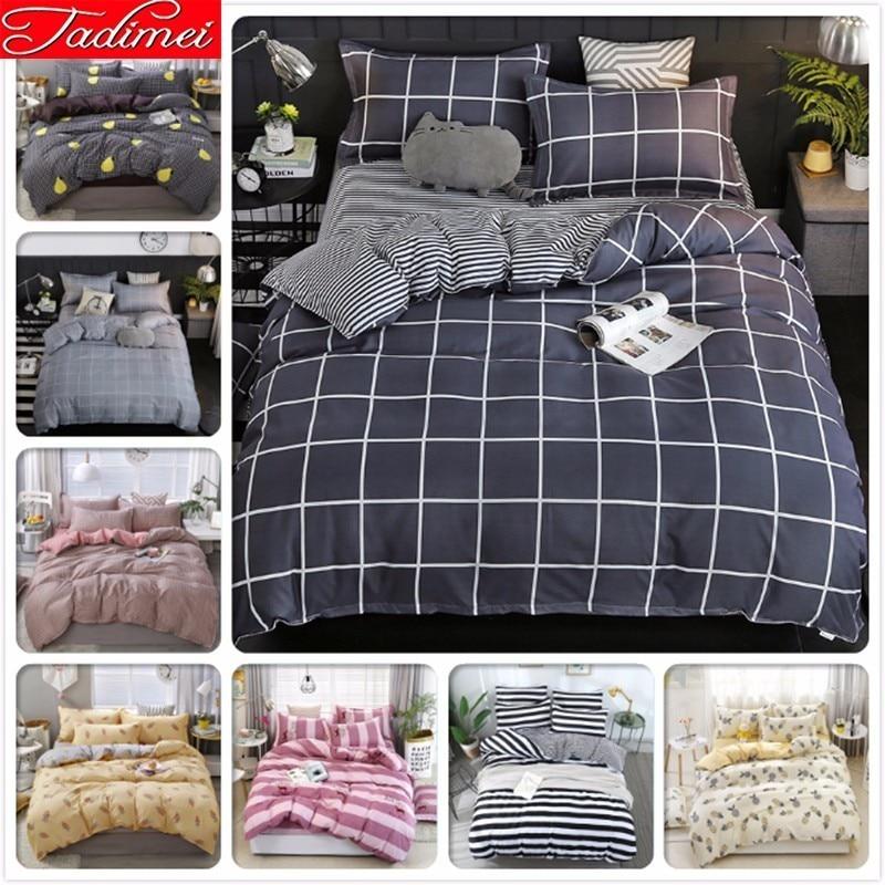 Gray Plaid Duvet Cover Sheet Pillowcase Bedding Set Adult Kids Child Soft Cotton Bed Linen Single Full Queen King Size 220*240cm