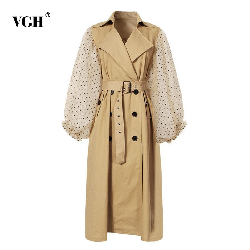 VGH Autumn Winter Patchwork Mesh   Trench   Coat For Women Polka Dot Lantern Sleeve High Waist Lace Up Women's Windbreaker Fashion
