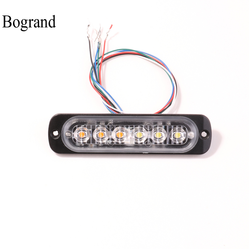 6W Synchronized Strobe Light Bar Bogrand Emergency Flash Signal Lamp LED Car Warning Hazard Flashing Beacon Vehicle Alarm Lights