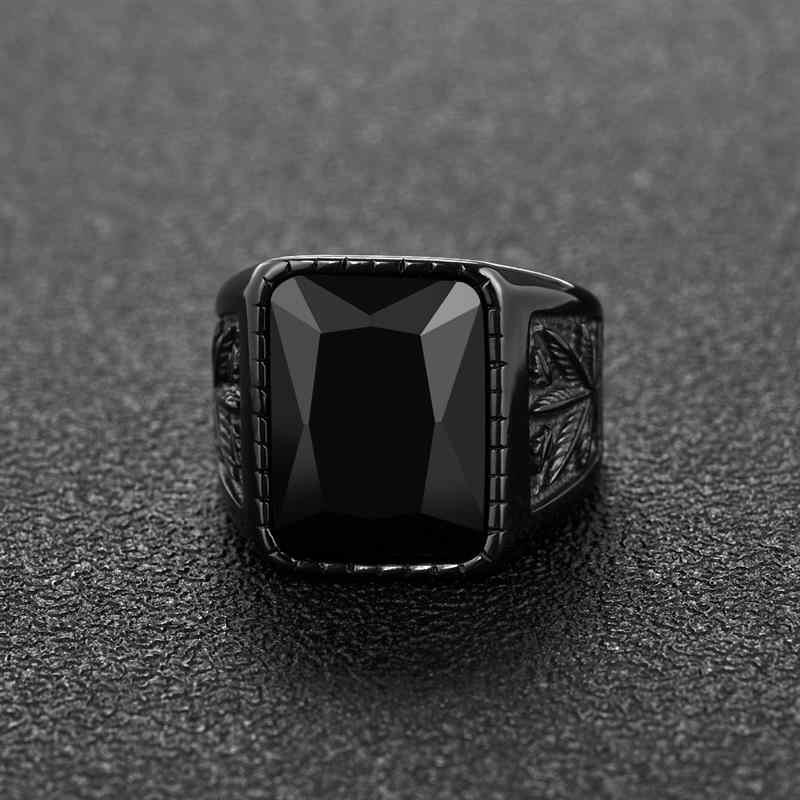 Jiayiqi ผู้ชาย Hiphop แหวน 316L สแตนเลสสีดำ/สีแดงแหวนหิน Rock แฟชั่นเครื่องประดับชาย