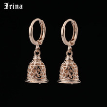 New Cute Earring Unique Carved Hollow 585 Rose Gold Small Bell Dangle E