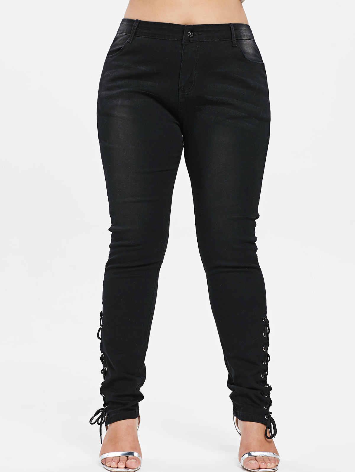 3f2ab00f8b7 ... Wipalo Plus Size Jeans Zipper Fly Side Lace Up Women Pants New Fashions  Skinny High Waist ...