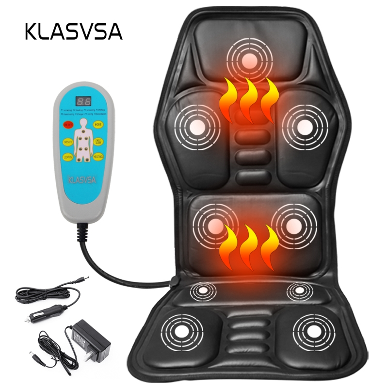 KLASVSA Heating Neck Massage Chair For Back Seat Topper Car Home Office Massager Vibrate Cushion Back