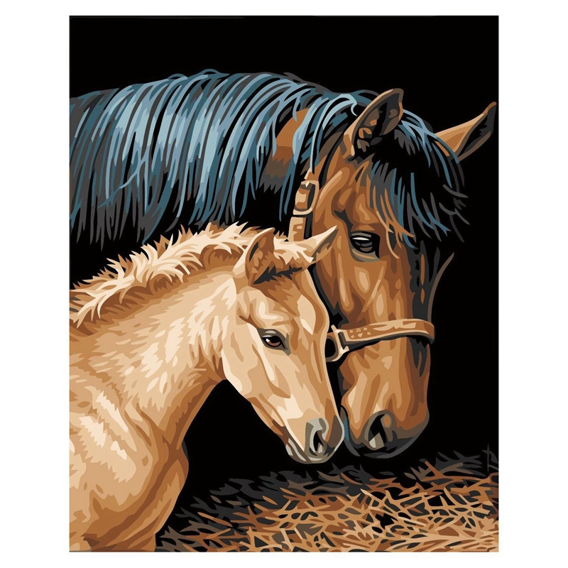 Diy Oil Painting by Numbers -Horses- PBN Kit for Adults Girls Kids White Christmas Decor Decorations Gifts 16x20inch (Frameles