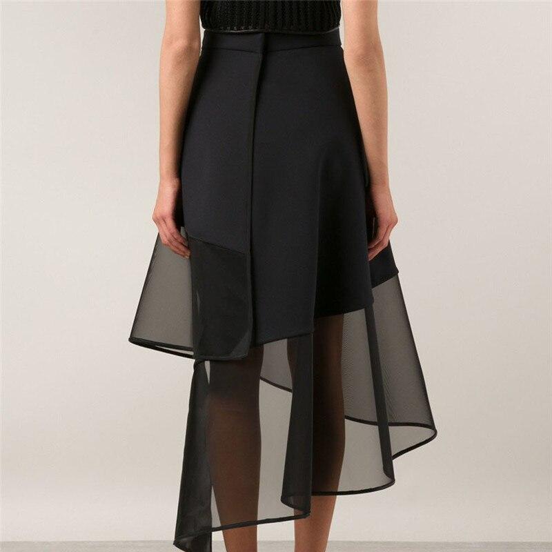 Spliced Noir Corps Jupe eam Le460 Maille Irrégulière Haute 2019 Femme Perspective Élégant Taille Printemps Tempérament Black Hiver Moitié RnHRzxq