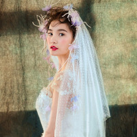 Romantic Wedding Accessories Bridal Short Veil Feather Yarn Flower Headdress Fashion Brides One Layer Fingertip Veils Handmade