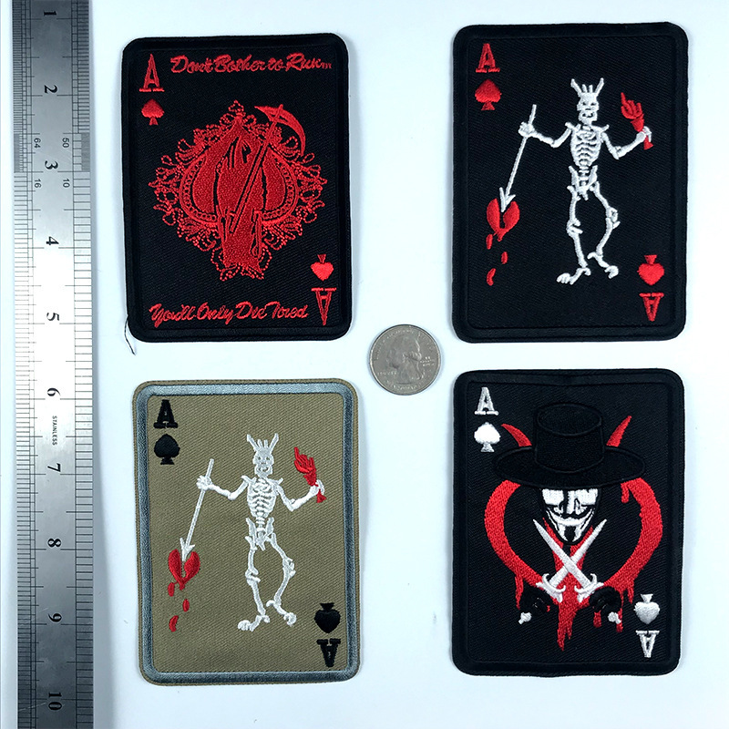PGY Skull Poker Patches For Clothing Punk Death Card Poker