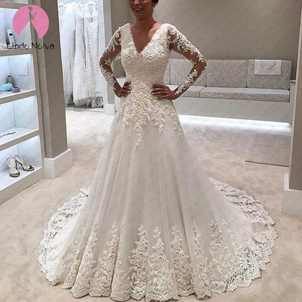 Vestidos De Noiva Long Sleeve Lace Wedding Dress 2019 Luxury Long Trian Wedding Bride Gowns Robe