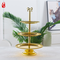 Golden Three layer Cake Stand Wedding Cup Cake Display Stand Fruit Plate