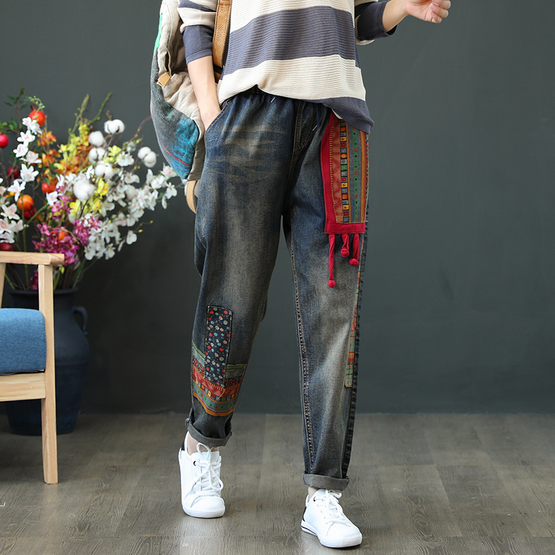 Spring Autumn Women Casual Loose High Waist Embroidery Jeans Patchwork Denim Pants Trousers Vintage Harem Pant
