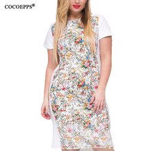 2019 Floral Printed Summer Dress Bodycon Women Midi White Party Plus Size Clothing 4XL 5XL 6XL Large Vestidos