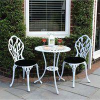 Panana на открытом воздухе садовый стол с 2 шт стулья Литые алюминиевые тюльпаны садовый набор бистро белый