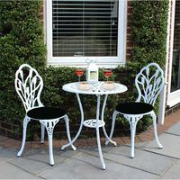 Panana Outdoors Garden Table with 2 pcs Chairs Cast Aluminium Tulip Garden Bistro Set White