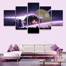 5 Panels Canvas Painting Animated Science Fiction Comedy Poster Wall Art Rick and Morty Picture Modern Home Decor For Kids Room