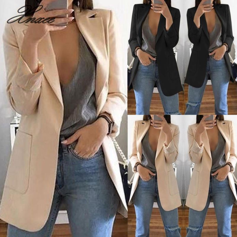 Fashion Slim Blazers Women Autumn Suit Jacket Female Work Office Lady Suit Black With Pockets Business Notched Blazer Coat