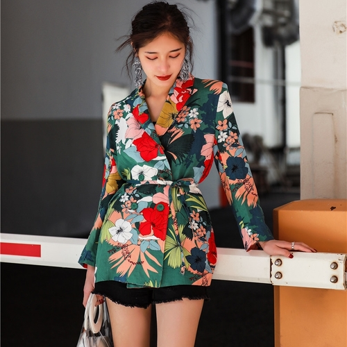 Women Floral Blazer 2018 Elegant Breasted Flower Print Blazers Casual Jacket Female Office Lady Work Suits Blazers Coat Casacos