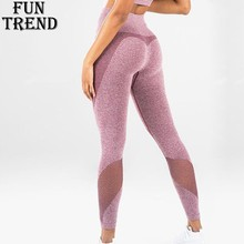 Solid Yoga Pants High Waist Sport Leggings Mesh Patchwork Fitness Women Jogging Running Gym Sportswear