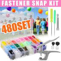 480Set T5 Plastic Colorful Button +T3 T5 T8 Fastener Snap Clamp Hand-held Metal Press Pliers Hand Punching Tools for DIY Sewing