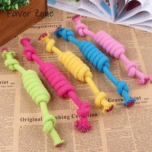 New Dog Toys Colorful Bite Resistant Cotton Rope Pets Puppy Chew Durable Double Knot Braided Bone For Small Large Dogs